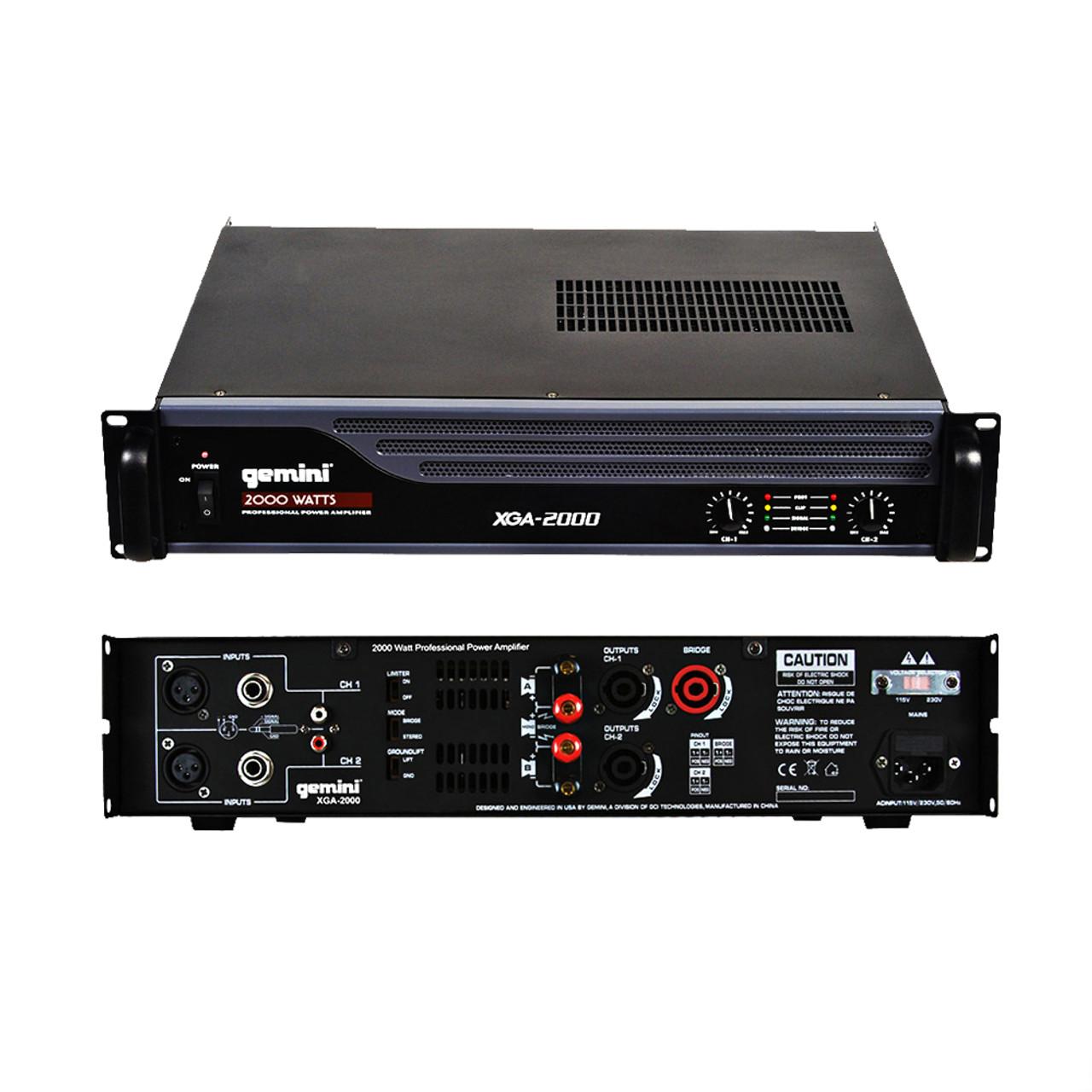 Gemini XGA Series XGA-2000 Professional Quality PA System DJ Equipment Power Amplifier with 2000 Watt Instant Peak Power
