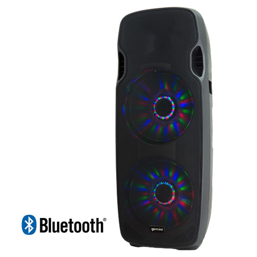 "Gemini AS-215BLU-LT Active Dual 15"" Woofer Speaker With LED Array & Bluetooth"