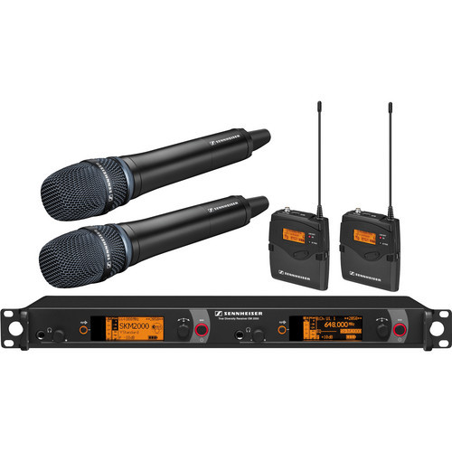 Sennheiser 2000 Series Dual Handheld and Dual Bodypack Transmitter Wireless Microphone System with Neumann KK 204 Capsules (Black)