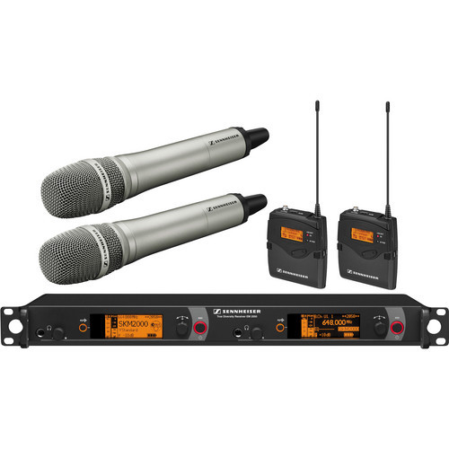 Sennheiser 2000 Series Dual Handheld and Dual Bodypack Transmitter Wireless Microphone System with Neumann KK 204 Capsules (Nickel)