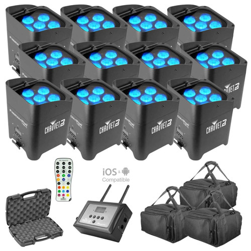 (12) Chauvet Freedom Par Tri-6 & FlareCON Air Package