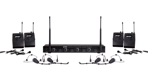 Gemini UHF-04HL Four Channel Headset/Lavalier Wireless Microphone Front View