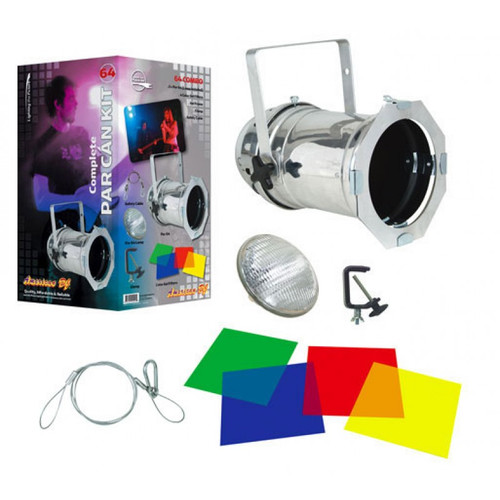 64 Combo Brushed Aluminum Par Can Package From American DJ - Multi-Color Light Kit