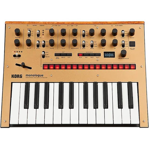 KORG Monophonic Analog Synthesizer with Presets -Gold Side View.