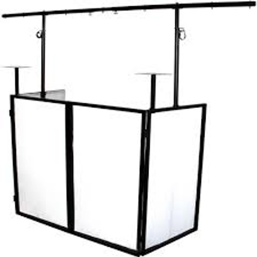 Novopro Mobile DJ Booth with Lighting Bar, Podiums Shelves, and Carrying Bags/B Side View.
