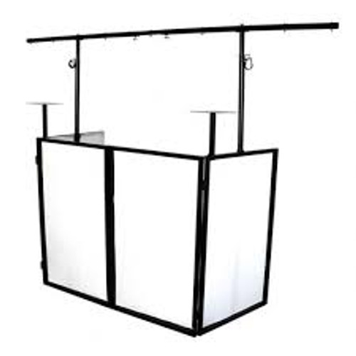 Novopro Mobile DJ Booth with Lighting Bar, Podiums Shelves, and Carrying Bags/W Side View.