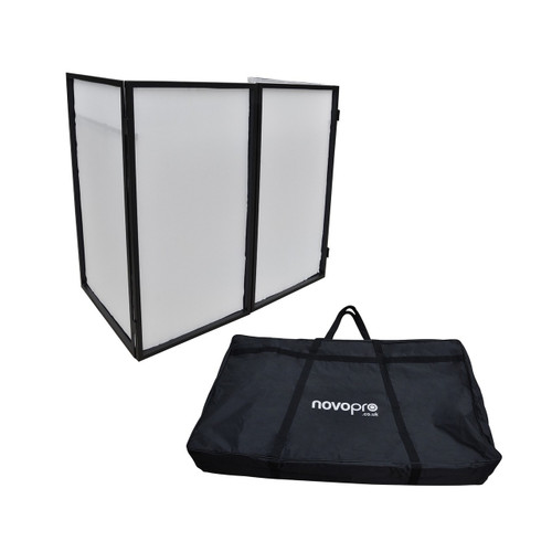 Novopro DJS1 (White) Mobile DJ Facade with Carrying Bag Side View.