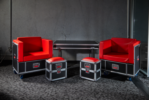 Gator Cases G-TOURLOUNGE G-Tour Road Case Furniture Set with 2 Chairs, 2 Ottomans and Table that Transforms into its Own Shipping Case