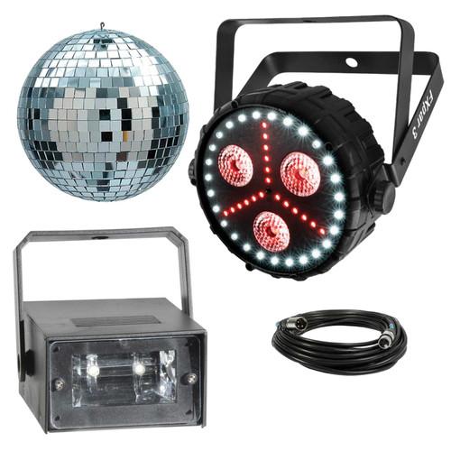 """Chauvet DJ Lighting Package PKG-CH-204 - FXpar 3 Compact Effect Par Light with Mini LED Strobe Light & 4"""" Mirror Ball Package"""