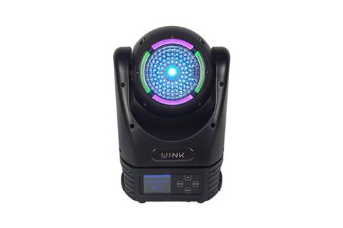 Blizzard Lighting WINK - Moving head with a 60W RGBW LED and 5-45° motorized zoom, plus an LED ring with 8x 0.5W RGB LEDs. Features 540/270° pan & tilt, infinite pan/tilt, auto, sound active, color presets, TFT LCD display, 3-pin DMX In/Out, powerCON