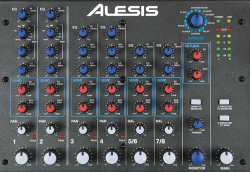 Alesis MM8USBFXPTOOLSXUS Multi Mix 8 Channel Mixer with Effects & USB Audio Interface and Protools First Software mm-8-usb-fx-p-tools-x-us