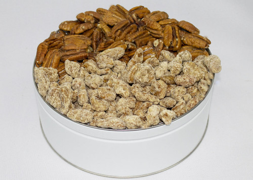 Our 3 combo tin with roasted salted and praline pecans