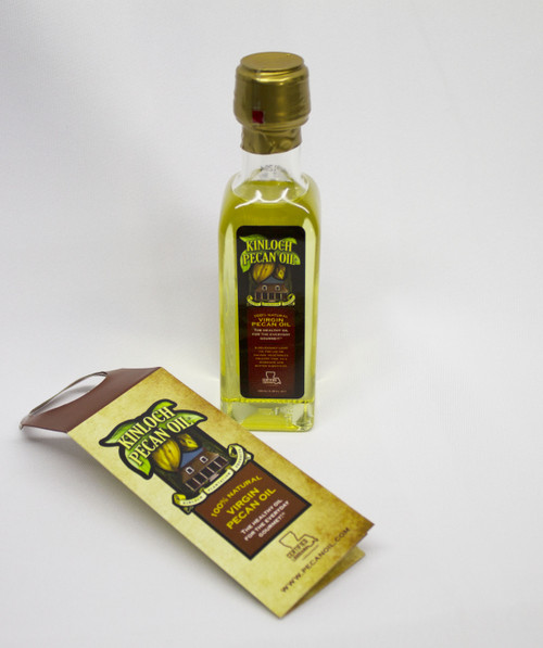 Our trial size of pecan oil.  Used just like olive oil, the smoke tolerance is 470 degrees and there is no taste to overpower your food's flavor.