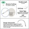 6-0 Sterile Micro Suture, 11mm, 3/8 Circle, Precision Reverse Cutting Needle | AROSuture™ CC11A06N-45