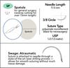 5-0 Sterile Micro Suture, 17mm, 3/8 Circle, Spatula Reverse Cutting Needle | AROSuture™ SP17A05N-45