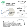 5-0 Sterile Micro Suture, 13mm, 3/8 Circle, Extra Reverse Cutting Needle   AROSuture™ E13A05N-45