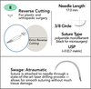 6-0 Sterile Micro Suture, 17mm, 3/8 Circle, Extra Reverse Cutting Needle | AROSuture™ E17A06N-45