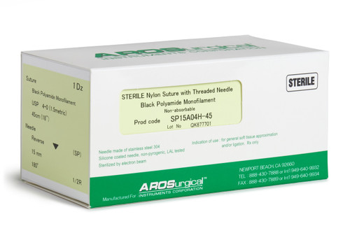 "AROSuture™ SP15A04H-45 | Sterile Nylon Microsuture with Threaded Needle: Non-Absorbable, Black Polyamide Monofilament Suture, Suture Size 4-0 (1.5 Metric), Suture Length 18"" (45cm), Spatula Reverse Cutting (SP) Needle, Needle Length 15mm, Needle Curvature 180° (1/2R), Needle Alloy Stainless Steel 304, Needle Sterilization Type Electron Beam, Needle Coating Silicone, Non-Pyrogenic, LAL Tested, Suture Usage General Soft Tissue Approximation and/or Ligation, Rx Only, 12 Per Box."