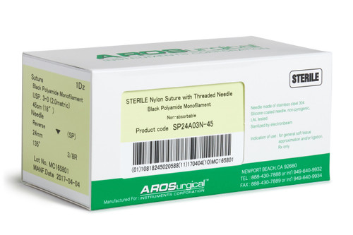 "AROSuture™ SP24A03N-45 | 3-0 Sterile Suture with Spatula Reverse Cutting Needle Non-Absorbable, Black Polyamide Monofilament Suture, Suture Size 3-0 (2.0 metric), Suture Length 18"" (45 cm), Spatula Reverse Cutting Needle, Needle Length 24 mm, Needle Curvature 135° (3/8 Circle), 12 Per Box."