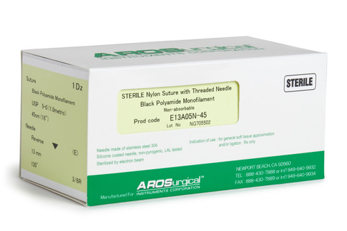"""AROSuture™ E13A05N-45   5-0 Sterile Suture with Extra Reverse Cutting Needle Sterile Nylon Suture with Threaded Needle: Non-Absorbable, Black Polyamide Monofilament Suture, Suture Size 5-0 (1.0 metric), Suture Length 18"""" (45 cm), Extra Reverse Cutting Needle, Needle Length 13 mm, Needle Curvature 135° (3/8 Circle), 12 Per Box."""