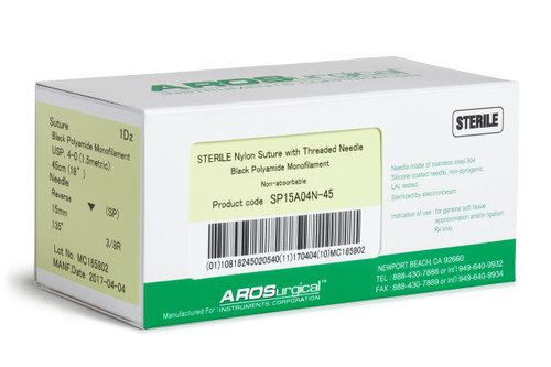 "AROSuture™ SP15A04N-45 | 4-0 Sterile Suture with Spatula Reverse Cutting Needle Sterile Nylon Suture with Threaded Needle: Non-Absorbable, Black Polyamide Monofilament Suture, Suture Size 4-0 (1.5 metric), Suture Length 18"" (45 cm), Spatula Reverse Cutting Needle, Needle Length 15 mm, Needle Curvature 135° (3/8 Circle), 12 Per Box. ***Comparable to ETHICON 1864G"