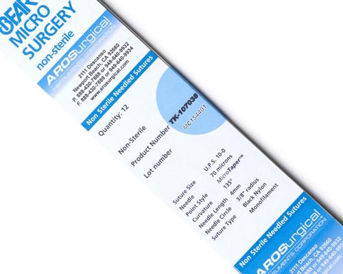 AROSuture™ TK-10703810-0 | 10-0 Non-Sterile Micro Suture, 4.0mm (70 µ), 3/8 Circle, TAP Point Needle
