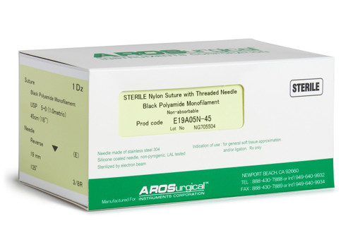 "AROSuture™ E19A05N-45 | 5-0 Sterile Suture with Extra Reverse Cutting Needle Sterile Nylon Suture with Threaded Needle: Non-Absorbable, Black Polyamide Monofilament Suture, Suture Size 5-0 (1.0 metric), Suture Length 18"" (45 cm), Extra Reverse Cutting Needle, Needle Length 19 mm, Needle Curvature 135° (3/8 Circle), 12 Per Box. ***Comparable to ETHICON 1666G"