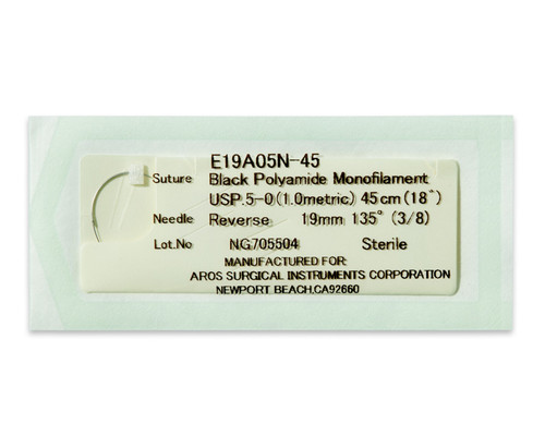 AROSuture™ E19A05N-45 | 5-0 Sterile Suture with Extra Reverse Cutting Needle