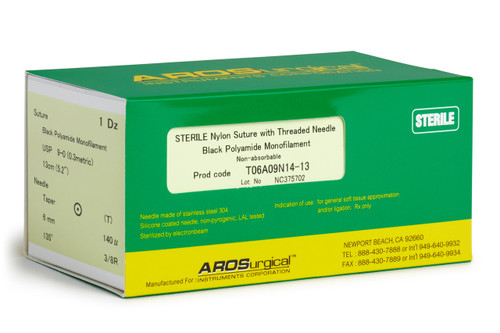 "AROSuture™  T06A09N14-13 | 9-0 Sterile Microsuture with TAP Point Needle Sterile Nylon Suture with Threaded Needle: Non Absorbable, Black Polyamide Monofilament Suture, Suture Size 9-0 (0.3 metric), Suture Length 5.2"" (13 cm), Chord 4.7 mm, Taper Point Needle, Needle Length 6.0 mm (140 Microns), Needle Curvature 135° (3/8 Circle), 12 Per Box. ***Comparable to ETHICON-Ethilon 2809G & SHARPOINT DR6-AA-0144"