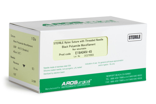 "AROSuture™ E19A04N-45 | 4-0 Sterile Suture with Extra Reverse Cutting Needle Sterile Nylon Suture with Threaded Needle: Non-Absorbable, Black Polyamide Monofilament Suture, Suture Size 4-0 (1.5 metric), Suture Length 18"" (45 cm), Extra Reverse Cutting Needle, Needle Length 19 mm, Needle Curvature 135° (3/8 Circle), 12 Per Box. ***Comparable to ETHICON 1667G"