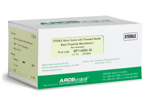 "AROSuture™ BP11A05N-45 | 5-0 Sterile Suture w/ Spatula Precision Cutting Needle Sterile Nylon Suture with Threaded Needle: Non-Absorbable, Black Polyamide Monofilament Suture, Suture Size 5-0 (1.0 metric), Suture Length 18"" (45 cm), Spatula Precision Cutting Needle, Needle Length 11 mm, Needle Curvature 135° (3/8 Circle), 12 Per Box. ***Comparable to ETHICON 695G"