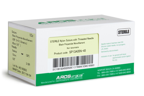 "AROSuture™ SP13A05N-45 | 5-0 Sterile Suture with Spatula Reverse Cutting Needle Sterile Nylon Suture with Threaded Needle: Non-Absorbable, Black Polyamide Monofilament Suture, Suture Size 5-0 (1.0 metric), Suture Length 18"" (45 cm), Spatula Reverse Cutting Needle, Needle Length 13 mm, Needle Curvature 135° (3/8 Circle), 12 Per Box. ***Comparable to ETHICON 1854G"