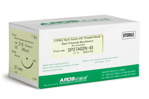 "AROSuture™ SP27A02N-45 | 2-0 Sterile Suture with Spatula Reverse Cutting Needle Sterile Nylon Suture with Threaded Needle: Non-Absorbable, Black Polyamide Monofilament Suture, Suture Size 2-0 (3.0 metric), Suture Length 18"" (45 cm), Spatula Reverse Cutting Needle, Needle Length 27 mm, Needle Curvature 135° (3/8 Circle), 12 Per Box. ***Comparable to ETHICON 664G"