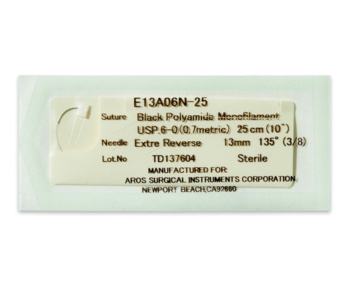 AROSuture™ E13A06N-25 | 6-0 Sterile Suture with Extra Reverse Cutting Needle