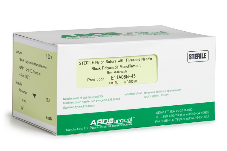 "AROSuture™ E11A06N-45 | 6-0 Sterile Suture w/ Extra Reverse Cutting Needle Non-Absorbable, Black Polyamide Monofilament Suture, Suture Size 6-0 (0.7 metric), Suture Length 18"" (45 cm), Extra Reverse Cutting Needle, Needle Length 11 mm, Needle Curvature 135° (3/8 Circle), 12 Per Box."