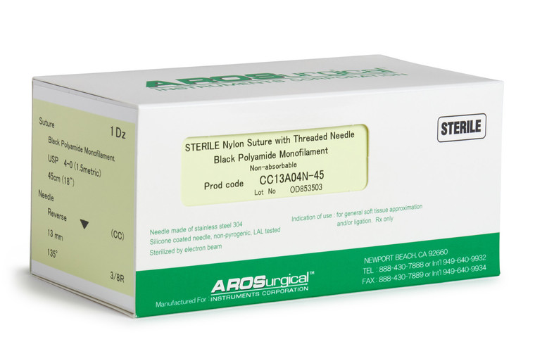 "AROSuture™ CC13A04N-45 | 4-0 Sterile Suture, Precision Reverse Cutting Needle Sterile Nylon Suture with Threaded Needle: Non-Absorbable, Black Polyamide Monofilament Suture, Suture Size 4-0 (1.5 metric), Suture Length 18"" (45 cm), Precision Reverse Cutting Needle, Needle Length 13 mm, Needle Curvature 135° (3/8 Circle), 12 Per Box."