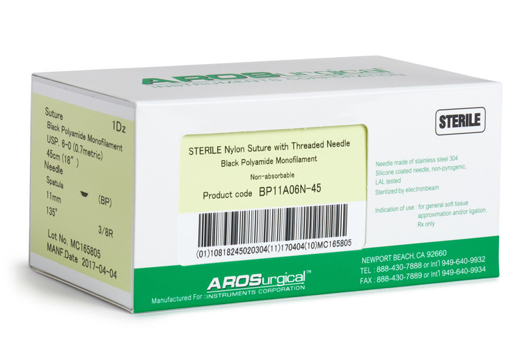 """AROSuture™ BP11A06N-45   6-0 Sterile Nylon Suture with Spatula Precision Cutting Needle Sterile Nylon Suture with Threaded Needle: Non-Absorbable, Black Polyamide Monofilament Suture, Suture Size 6-0 (0.7 metric), Suture Length 18"""" (45 cm), Spatula Precision Cutting Needle, Needle Length 11 mm, Needle Curvature 135° (3/8 Circle), 12 Per Box.  *Comparable to ETHICON 697G"""