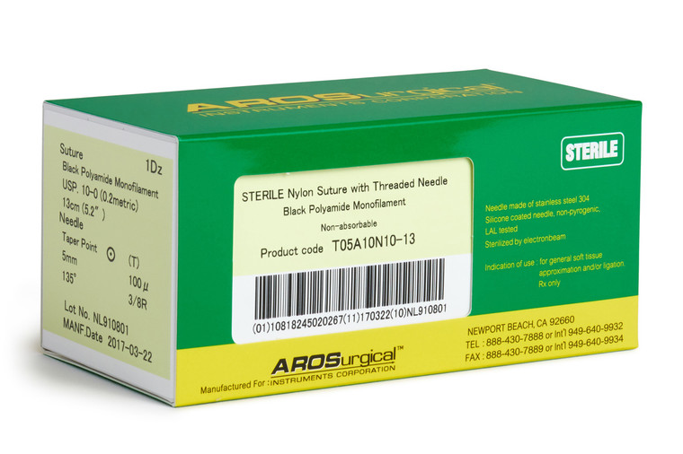 """AROSuture™  T05A10N10-13   10-0 Sterile Microsuture with TAP Point Needle Nylon Microsuture with Threaded Needle: Non-Absorbable, Black Polyamide Monofilament Suture, Suture Size 10-0 (0.2 metric), Suture Length 5.2"""" (13 cm), Chord Length 3.9 mm, Taper Point Needle, Needle Length 5.0 mm (100 microns), Needle Curvature 135° (3/8 Circle), 12 Per Box.  *Equivalent to ETHICON-Ethilon 2830G & SHARPOINT DR5-AA-0141"""
