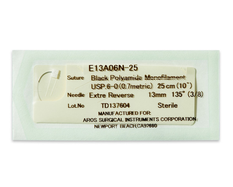 AROSuture™ E13A06N-25   6-0 Sterile Suture with Extra Reverse Cutting Needle