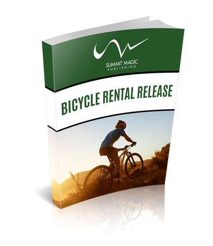 Bicycle Rental Release. Release (Waiver) to be used by bicycle retailers or rental shops who are renting products to the public.