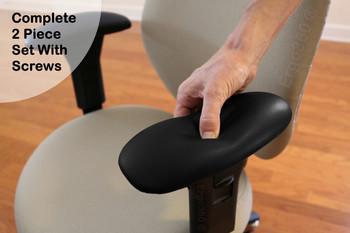 Ultra-Soft Ergo360 Memory Foam Chair Armrest Arm Pads Complete 2 Piece Set With Screws