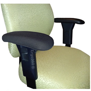 Neoprene Chair Arm Pad Covers Installed. This product fits over existing chair arm pads elastically snug and has a smooth built-in look. Pricing shown is for a complete Set of Two.