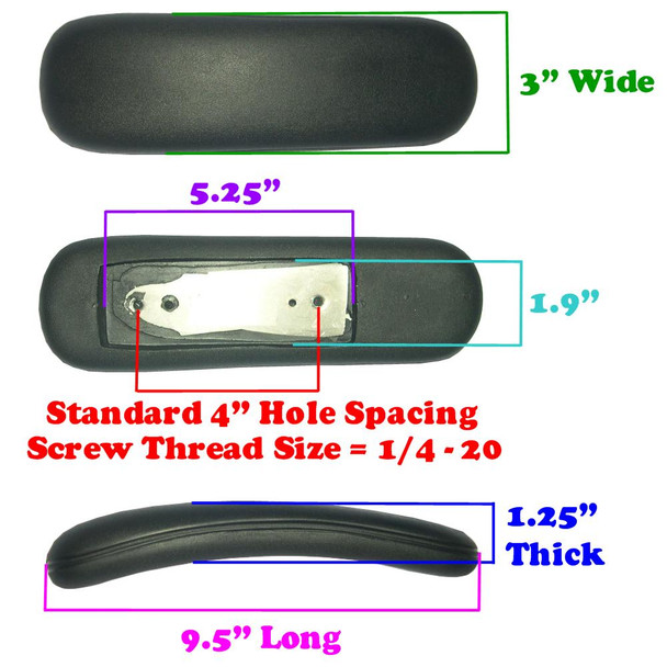 Replacement Desk Chair Armrest Arm Pads Dimensions