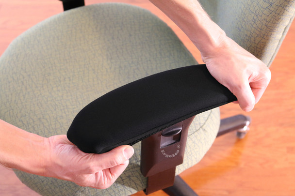 "Ergo360 Fitted Neoprene Armrest Cover Stretched Into Position Over 12"" Chair Arm Pad"