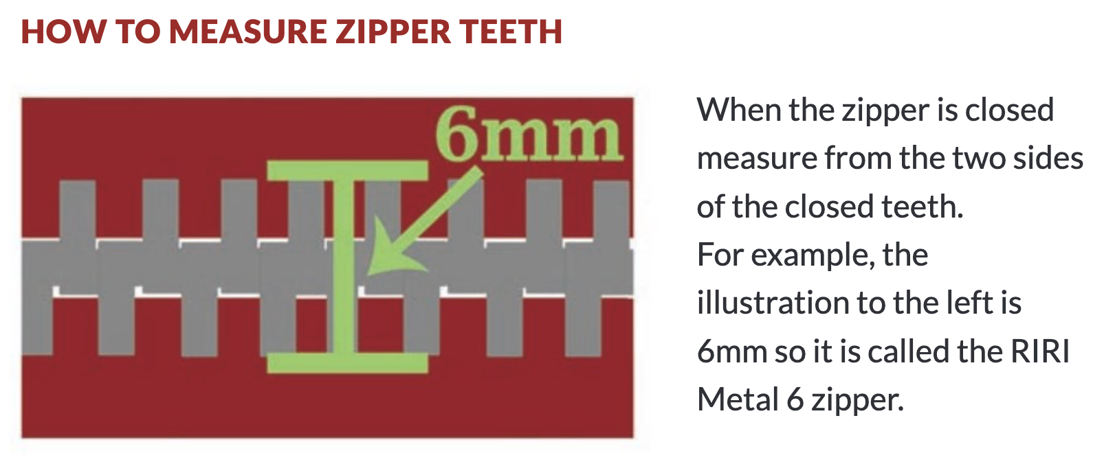 How to measure zipper teeth