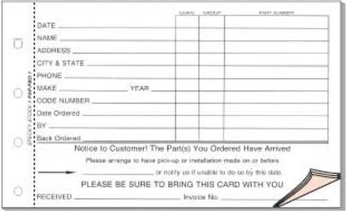 4 Part PBO-1 Parts Special Order Form