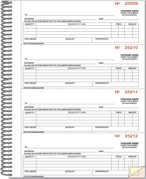 Purchase Order Book - Imprinted - 5 books/package