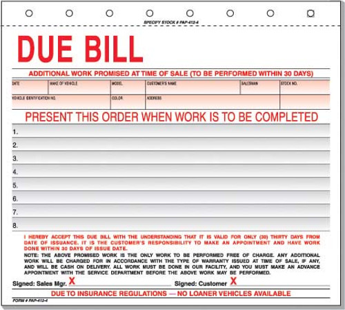 Due Bill - Imprinted - 500/package