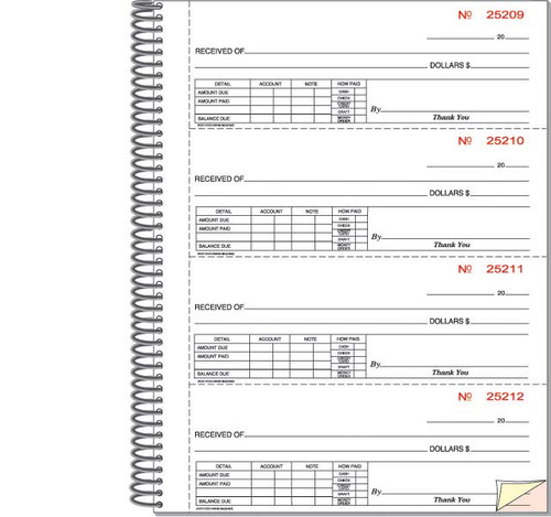 Cash Receipt Book - Imprinted - 5 books/package