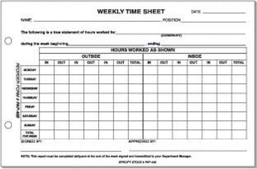 Sales Weekly Time Sheet Us Autoforms